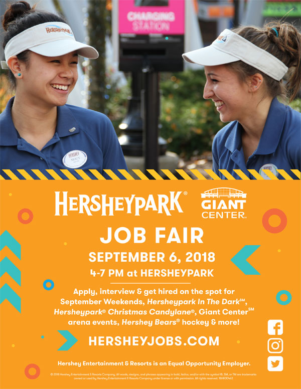 Poster of Hersheypark Job Fair - September 6, 2018